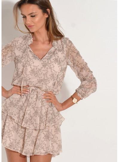 Sukienka szyfonowa drobne kwiatki