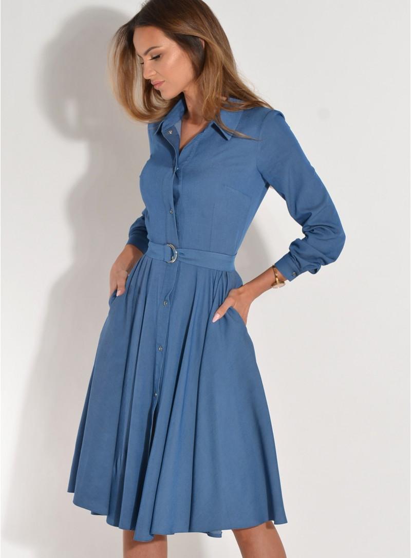 Sukienka Rozalia rozkloszowana jeansowa