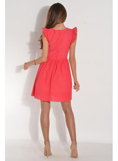 Sukienka ażurowa w serek malinowa