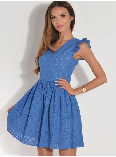 96e93b97bb Sukienka ażurowa w serek niebieska
