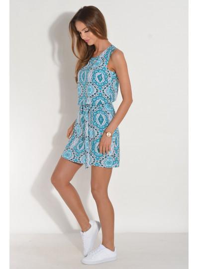 Sukienka z dekoltem na plecach turkusowa