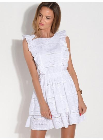 Sukienka batystowa z falbankami