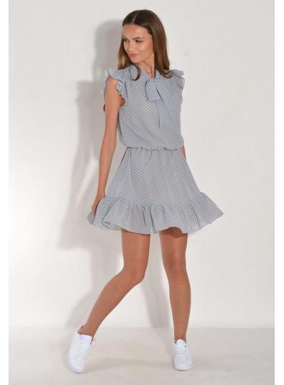 Sukienka w groszki z falbanką szara