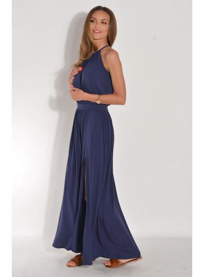 Dzianinowa sukienka maxi z rozcięciem