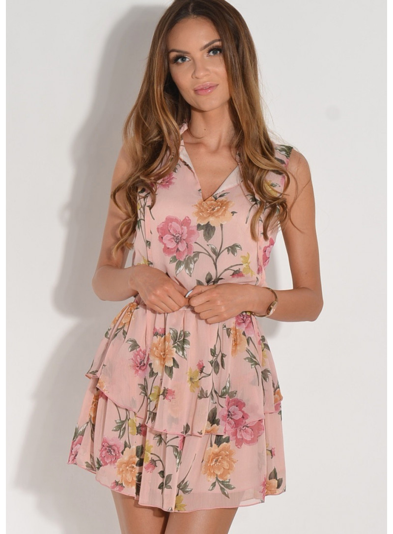Sukienka szyfonowa w drobne kwiatki blady róż