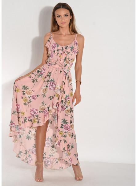 Sukienka Alina w kwiaty z falbanami