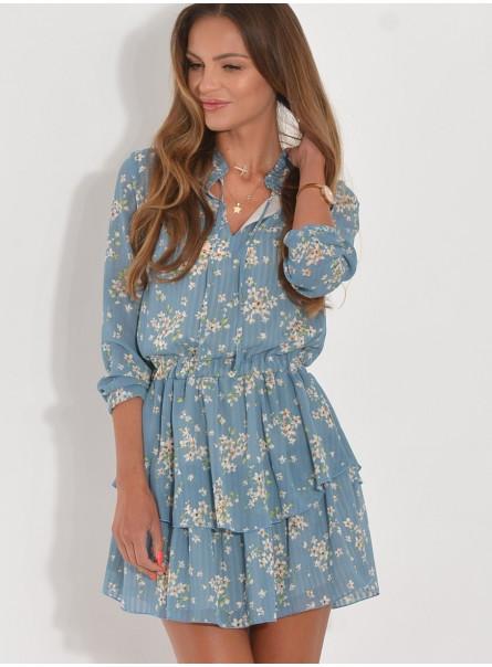 Sukienka szyfonowa w drobne kwiatki