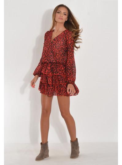 Sukienka czerwona panterka