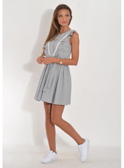 Sukienka Ilona z falbanami i gipiurą
