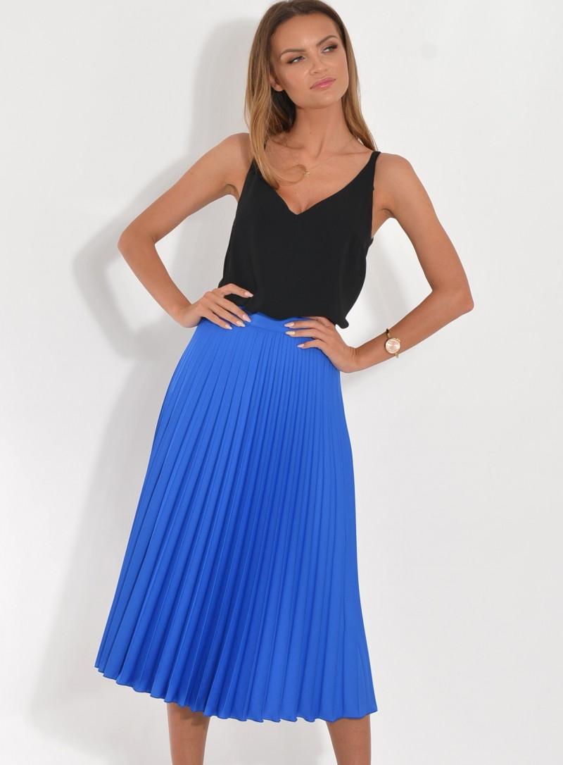 Spódnica plisowana kobaltowa