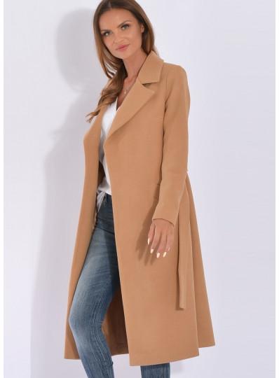 Płaszcz przejściowy z paskiem jasny ciepły camel