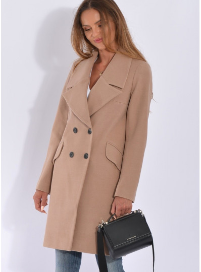 Pudełkowy płaszcz camelowy beż