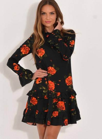 Sukienka Nela pomarańczowe kwiaty