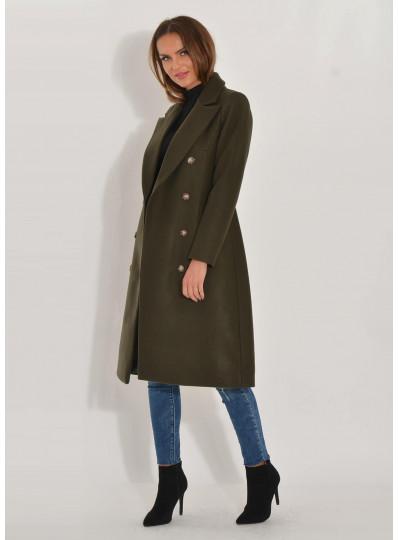 Dwurzędowy płaszcz Emy khaki