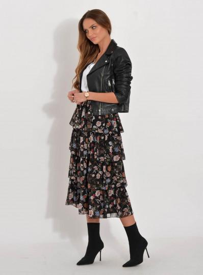 Spódnica szyfonowa Aurelia falbany w kwiaty
