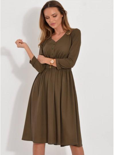 Sukienka Iga midi dzianinowa z guzikami khaki