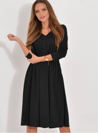 Sukienka Iga midi dzianinowa z guzikami czarna