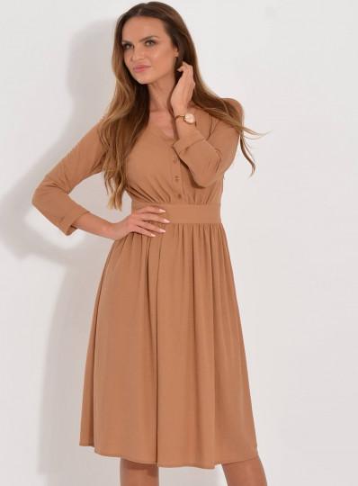 Sukienka Iga midi dzianinowa z guzikami camel