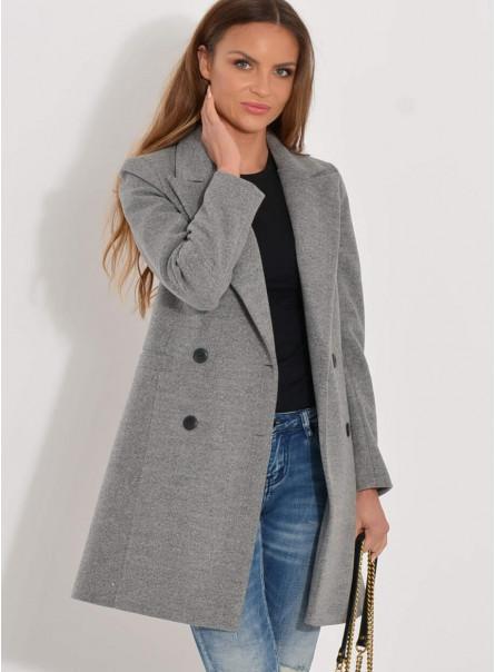 Dwurzędowy krótki płaszcz szary