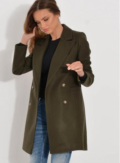 Dwurzędowy krótki płaszcz khaki