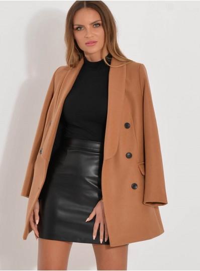 Płaszcz żakietowy camelowy