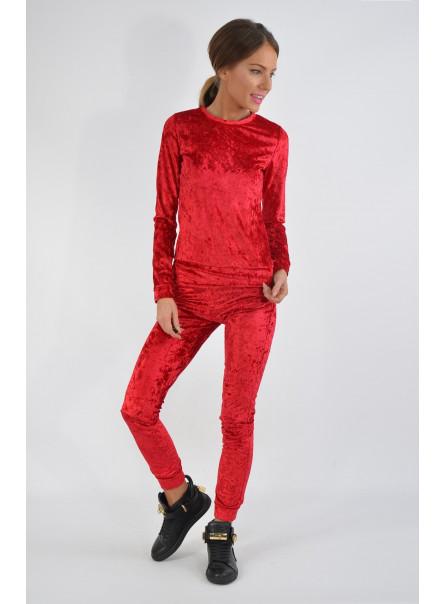 Spodnie dresowe welur bordo