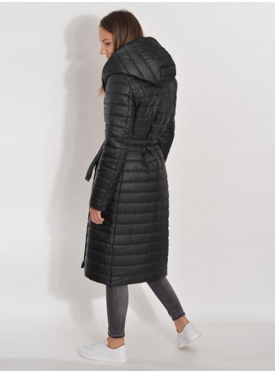 Pikowany płaszcz zimowy czarny