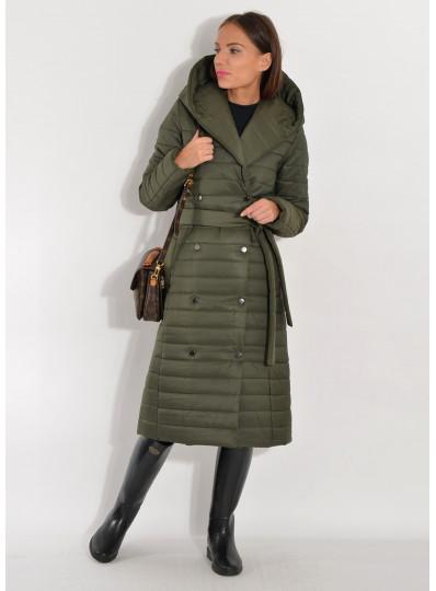 Pikowany płaszcz zimowy khaki