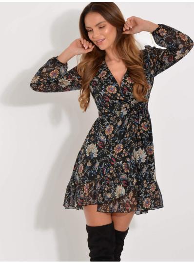 Sukienka Anita szyfonowa zakładana z falbankami