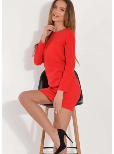 Sukienka Lina z guzikami na ramionach czerwona