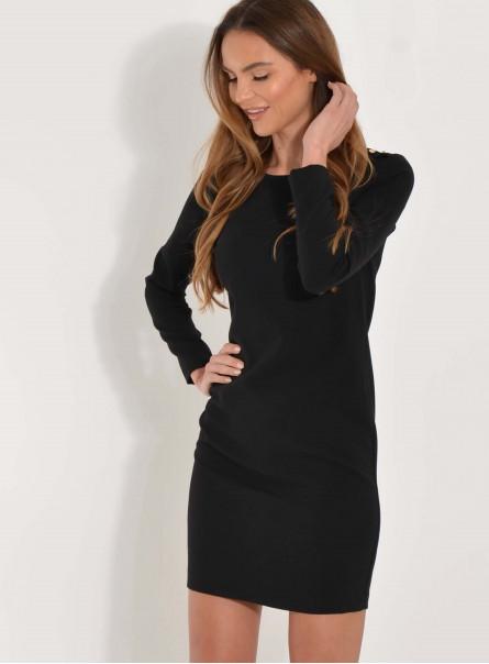 Sukienka Lina z guzikami na ramionach czarna