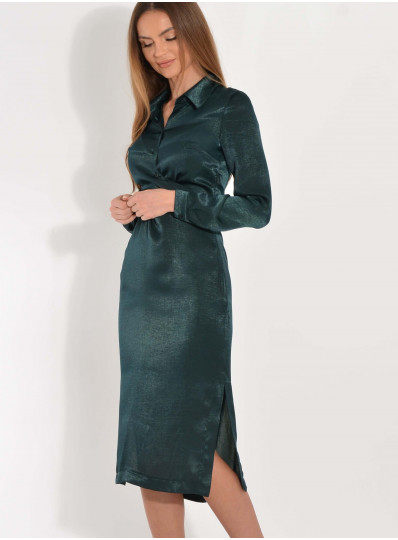 Sukienka z satyny Maurice butelkowa zieleń