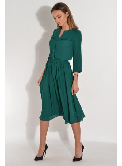 Sukienka rozkloszowana z drobna falbanką zielona