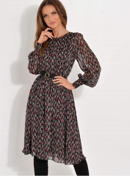 Sukienka szyfonowa z bufiastymi rękawami