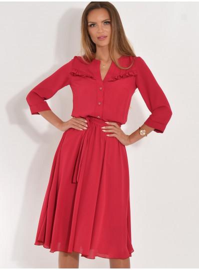 Sukienka rozkloszowana z drobna falbanką jasne bordo