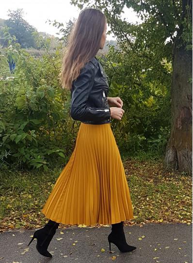 Spódnica plisowana musztardowa