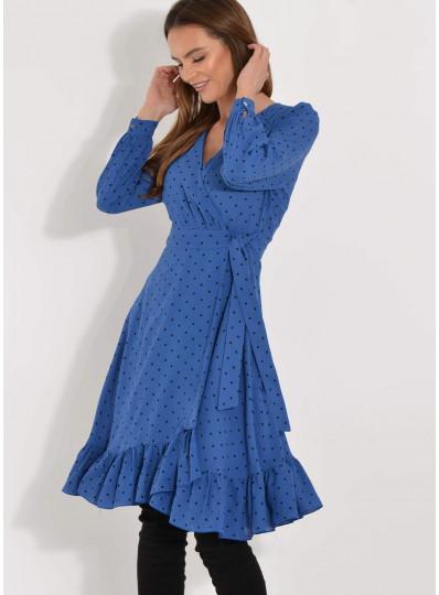 Sukienka zakładana kobaltowa w groszki