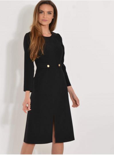 Sukienka goya z naszytymi kieszeniami czarna