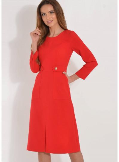 Sukienka goya z naszytymi kieszeniami czerwona