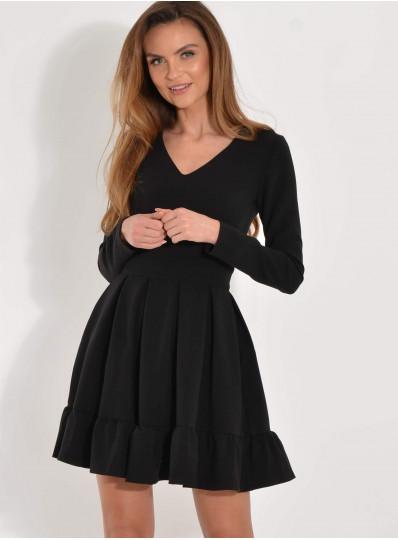 Sukienka z kontrafałdami czarna