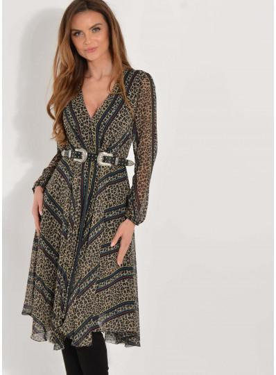 Sukienka Elisa w panterkę z astymetrycznym dołem