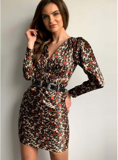 Sukienka z karbowanej tkaniny z marszczonym dołem