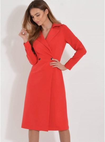 Sukienka Adel zakładana z klapami czerwona