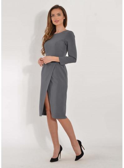 Sukienka midi z zakładanym przodem szara