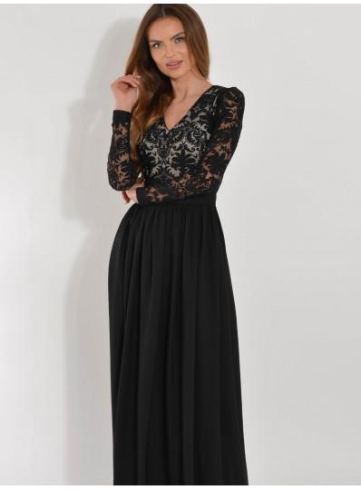 Koronkowa sukienka maxi czarna