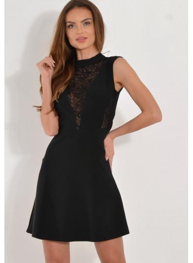 Sukienka ze wstawkami z koronki czarna