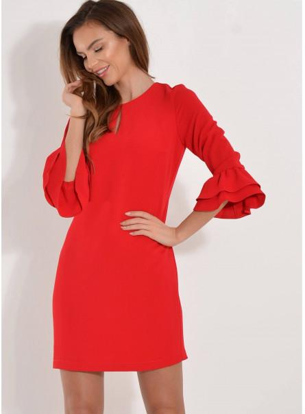 Sukienka rękaw falbany czerwona