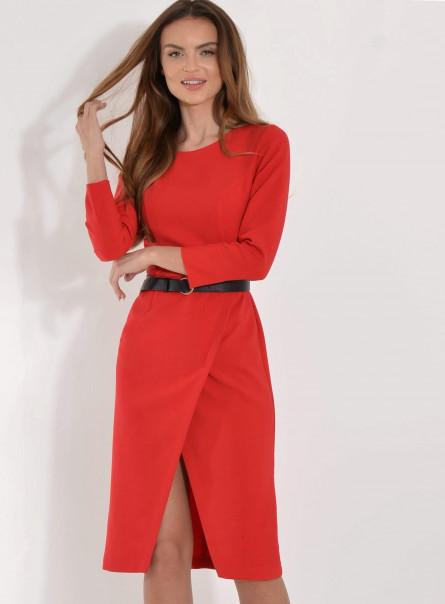 Sukienka midi z zakładanym przodem czerwona