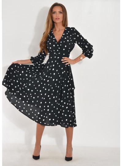 Sukienka Anita grochy czarna