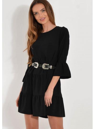 Sukienka z falbanami czarna